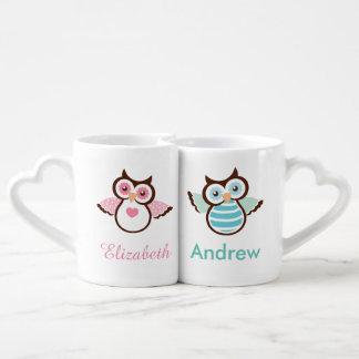 Sistema de la taza del par rosado y azul del búho tazas para enamorados