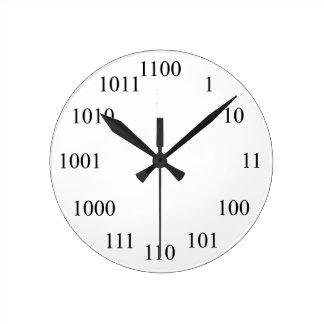Sistema de número binario Geeky Reloj Redondo Mediano