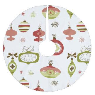 Sistema de ornamentos retros del navidad falda para arbol de navidad de poliéster
