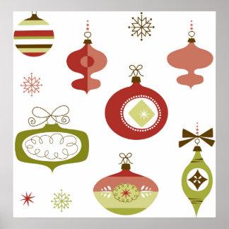 Sistema de ornamentos retros del navidad póster