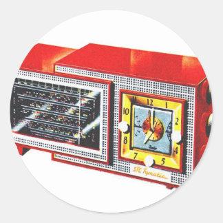 Sistema de radio-reloj retro del kitsch 50s Tymati Etiqueta Redonda