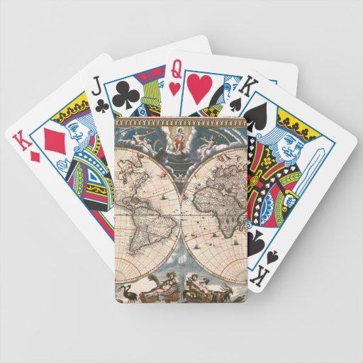 Sistema de tarjeta del mapa de Viejo Mundo del Baraja Cartas De Poker