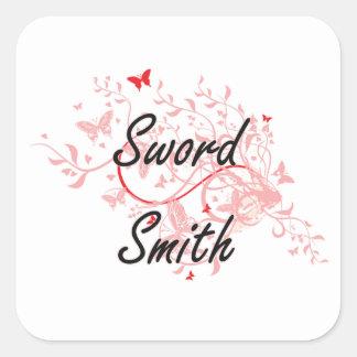 Sistema de trabajo artístico de Smith de la espada Pegatina Cuadrada