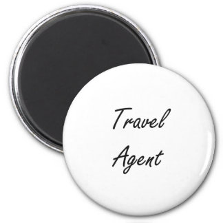 Sistema de trabajo artístico del agente de viajes imán redondo 5 cm