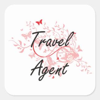 Sistema de trabajo artístico del agente de viajes pegatina cuadrada