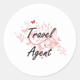 Sistema de trabajo artístico del agente de viajes pegatina redonda