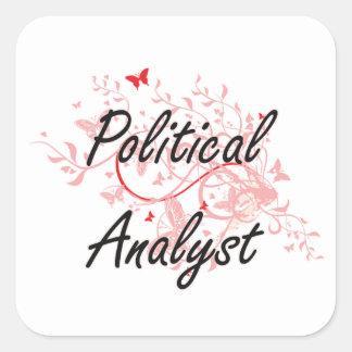 Sistema de trabajo artístico del analista político pegatina cuadrada