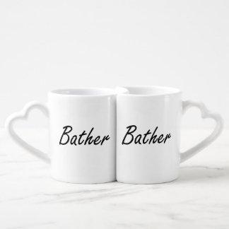 Sistema de trabajo artístico del bañista tazas para parejas