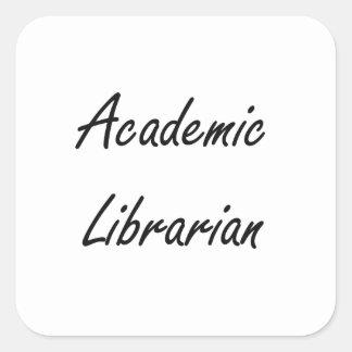 Sistema de trabajo artístico del bibliotecario pegatina cuadrada