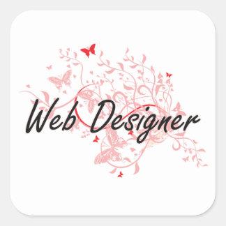 Sistema de trabajo artístico del diseñador del Web Pegatina Cuadrada