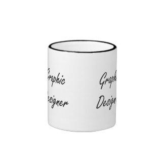 Sistema de trabajo artístico del diseñador gráfico taza a dos colores