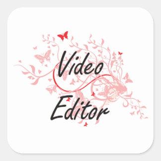 Sistema de trabajo artístico del editor de vídeo pegatina cuadrada