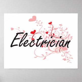 Sistema de trabajo artístico del electricista con póster