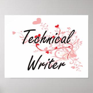 Sistema de trabajo artístico del escritor técnico póster