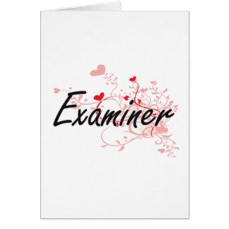 Sistema de trabajo artístico del examinador con tarjeta de felicitación