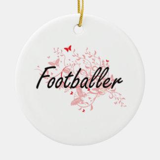 Sistema de trabajo artístico del futbolista con adorno navideño redondo de cerámica