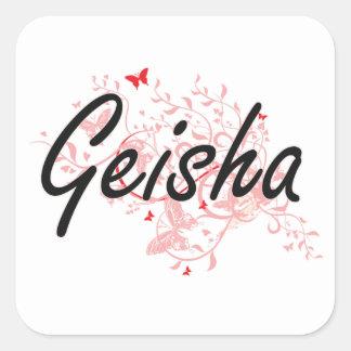 Sistema de trabajo artístico del geisha con las pegatina cuadrada