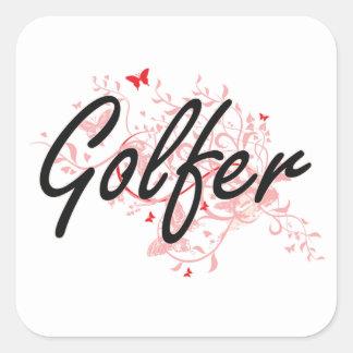 Sistema de trabajo artístico del golfista con las pegatina cuadrada