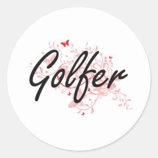 Sistema de trabajo artístico del golfista con las pegatina redonda