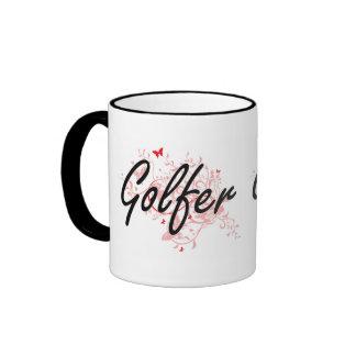 Sistema de trabajo artístico del golfista con las taza de dos colores