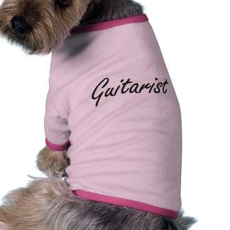 Sistema de trabajo artístico del guitarrista camiseta con mangas para perro