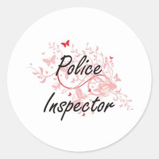 Sistema de trabajo artístico del inspector de pegatina redonda