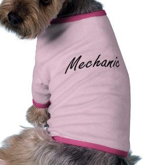 Sistema de trabajo artístico del mecánico camiseta con mangas para perro