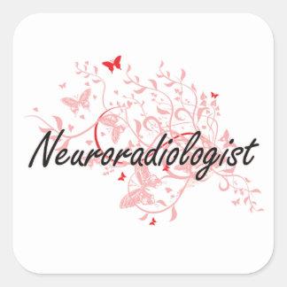 Sistema de trabajo artístico del neuroradiólogo pegatina cuadrada