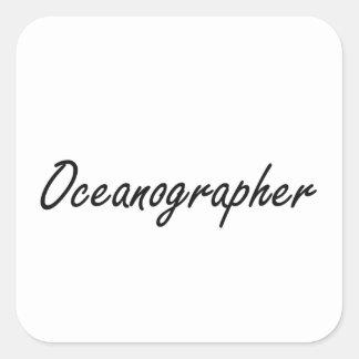 Sistema de trabajo artístico del oceanógrafo pegatina cuadrada