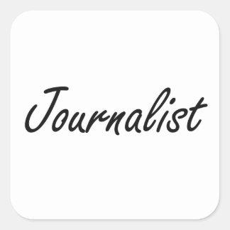 Sistema de trabajo artístico del periodista pegatina cuadrada