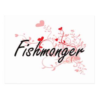 Sistema de trabajo artístico del pescadero con los postales