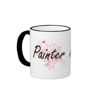 Sistema de trabajo artístico del pintor con las taza de dos colores