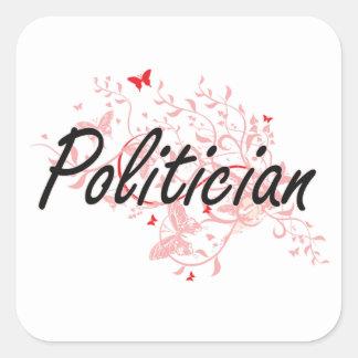 Sistema de trabajo artístico del político con las pegatina cuadrada