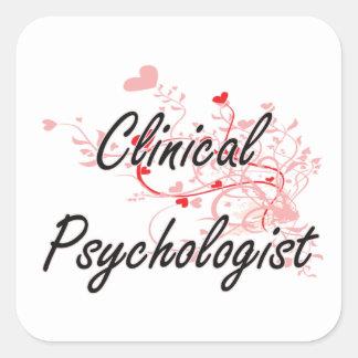 Sistema de trabajo artístico del psicólogo clínico pegatina cuadrada