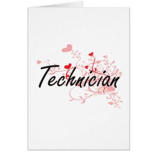 Sistema de trabajo artístico del técnico con los tarjeta de felicitación