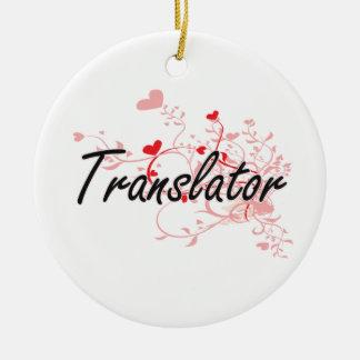 Sistema de trabajo artístico del traductor con los adorno navideño redondo de cerámica