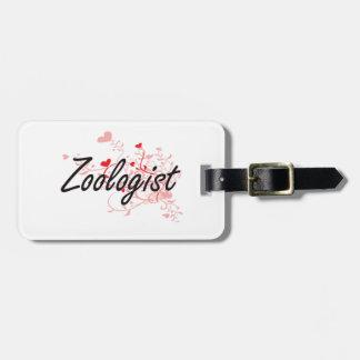 Sistema de trabajo artístico del zoologista con etiqueta de maleta