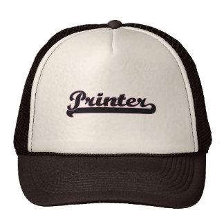 Sistema de trabajo clásico de la impresora gorra