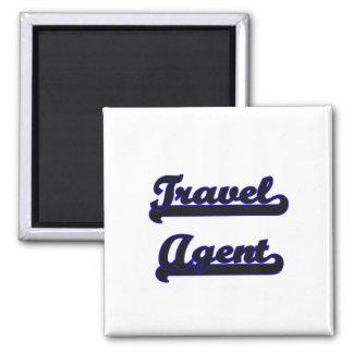 Sistema de trabajo clásico del agente de viajes imán cuadrado