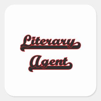 Sistema de trabajo clásico del agente literario pegatina cuadrada