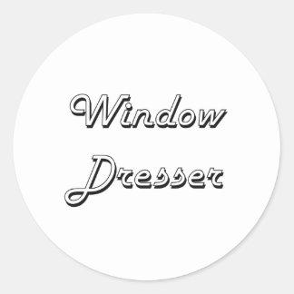 Sistema de trabajo clásico del aparador de ventana pegatina redonda