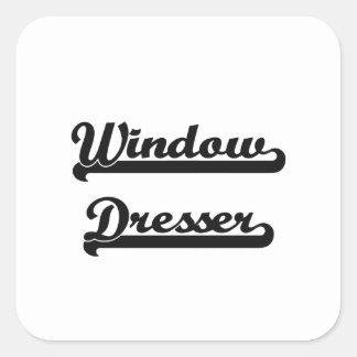 Sistema de trabajo clásico del aparador de ventana pegatina cuadrada