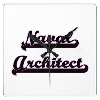 Sistema de trabajo clásico del arquitecto naval reloj cuadrado
