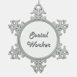Sistema de trabajo clásico del asistente social adorno de peltre en forma de copo de nieve