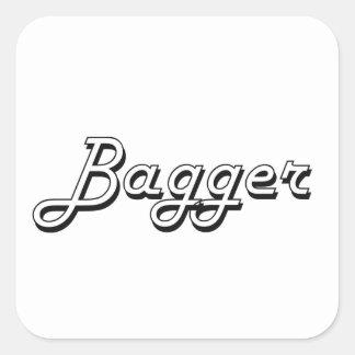 Sistema de trabajo clásico del Bagger Pegatina Cuadrada