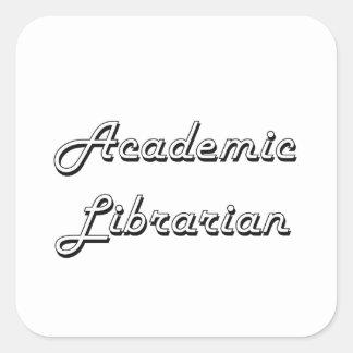 Sistema de trabajo clásico del bibliotecario pegatina cuadrada