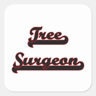 Sistema de trabajo clásico del cirujano de árbol pegatina cuadrada