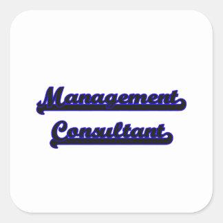 Sistema de trabajo clásico del consultor en pegatina cuadrada
