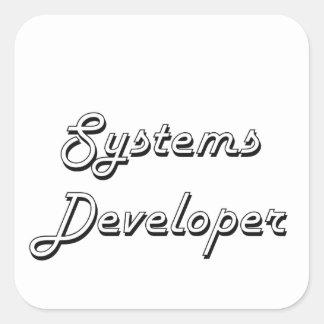 Sistema de trabajo clásico del desarrollador de pegatina cuadrada