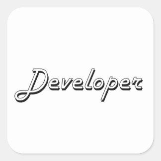 Sistema de trabajo clásico del desarrollador pegatina cuadrada